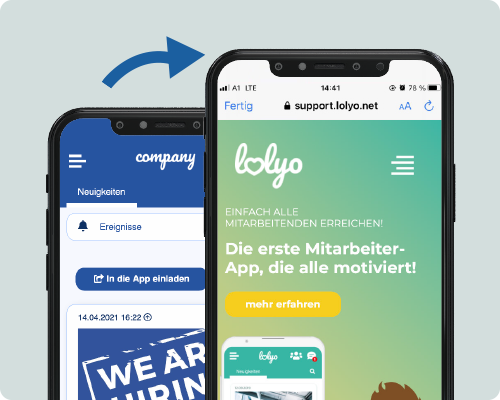 LOLYO Mitarbeiter-App in App Browser