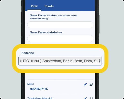 LOLYO Mitarbeiter-App Zeitzonenauswahl