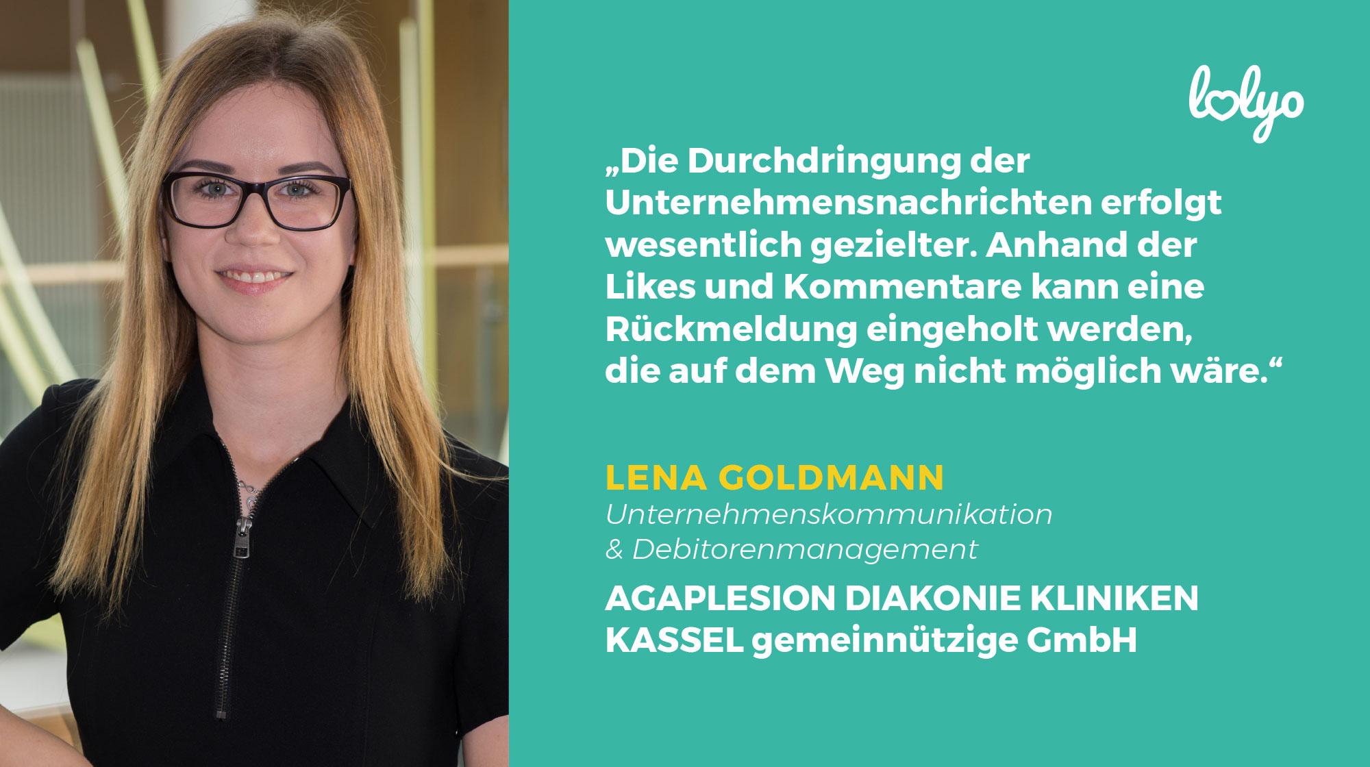 Frau Lena Goldmann, AGAPLESION DIAKONIE KLINIKEN KASSEL - Bild mit Zitat: